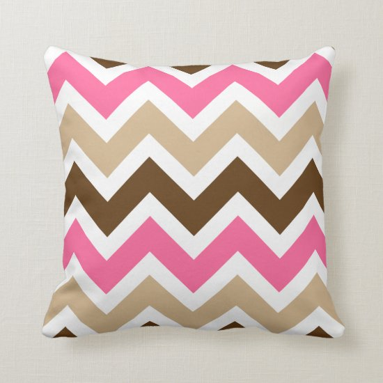 Pink Tan and Brown Chevron Pattern Throw Pillow