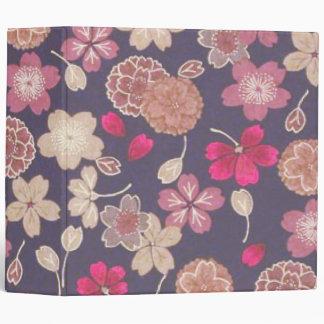 Pink & Tan Flowers 3 Ring Binder