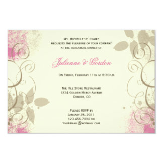 Pink Tan Grunge Leaves Swirls Rehearsal Dinner 3.5x5 Paper Invitation Card