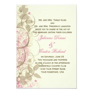 Pink Tan Grunge Swirls Leaves Wedding Invitation