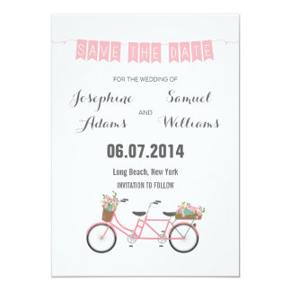Pink Tandem Bicycle Save The Date Card