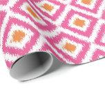 Pink Tangerine Diamonds Ikat Pattern Gift Wrapping Paper