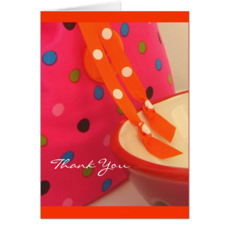 Pink Tangerine Dots Thank You Note Card