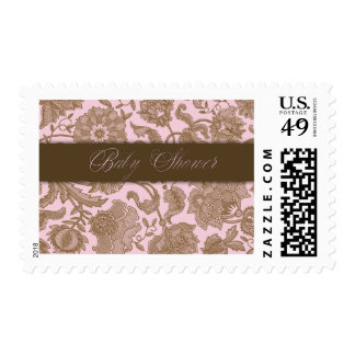 Pink Tapestry - Baby Shower Postage Stamp