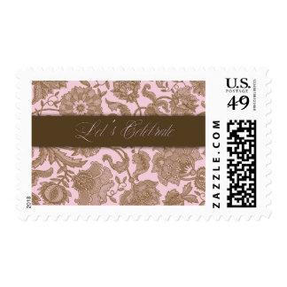 Pink Tapestry - Let's Celebrate Postage Stamp