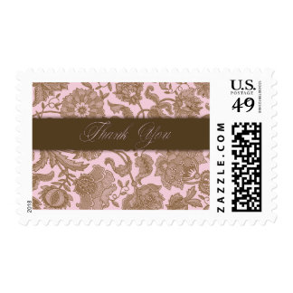 Pink Tapestry - Thank You Stamps