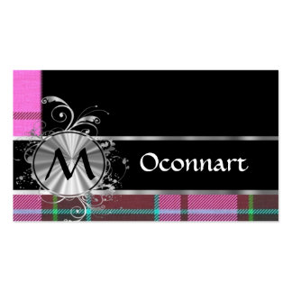 Pink  tartan and silver monogram business cards