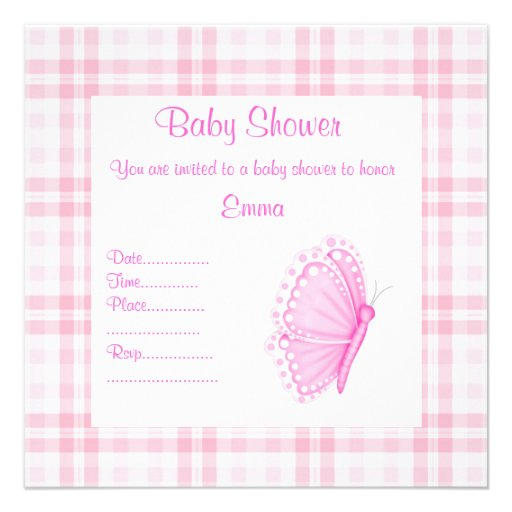 pink tartan butterfly baby shower invitation zazzle