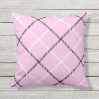 Pink Tartan Plaid Pattern Patio Deck Chair Outdoor Pillow