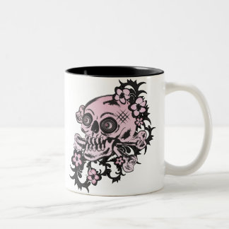 Pink Tattoo Skull Two-Tone Coffee Mug