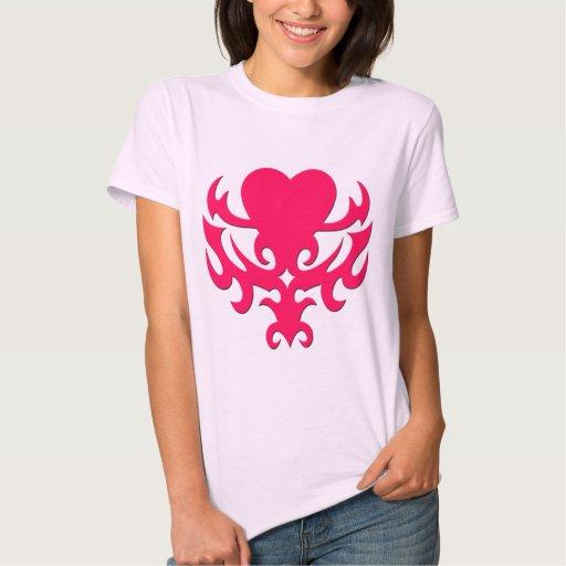 Pink Tattoo Style Heart Tee Shirt