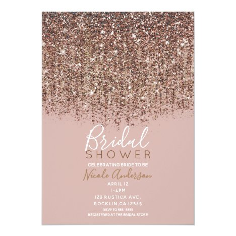 Pink Taupe Bronze Gold Glitter Glam Bridal Shower Invitation