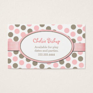 Pink & Taupe Polka Dot Play date card