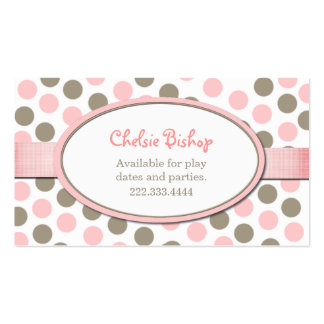 Pink & Taupe Polka Dot Play date card Business Card
