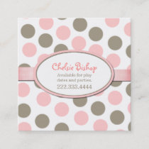 Pink & Taupe Polka Dot Square Play Date Card