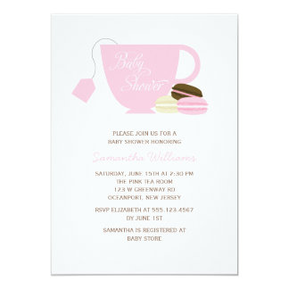 Pink Tea Cup and Macarons Baby Shower Card