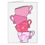 Pink Tea Cup Stack Greeting Card