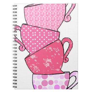 Pink Tea Cup Stack Notebook