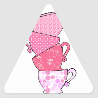 Pink Tea Cup Stack Triangle Sticker