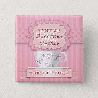 Pink Tea Party Bridal Shower Button