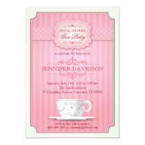 "Pink Tea Party Bridal Shower Invitation 5"" X 7"" Invitation Card"