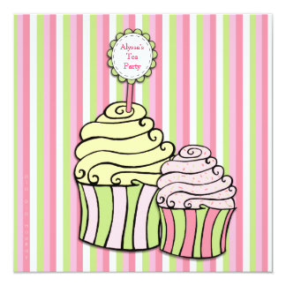 Pink Tea Party Cupcake Striped Party Invite