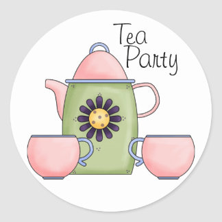 Pink Tea Party - Customized Classic Round Sticker