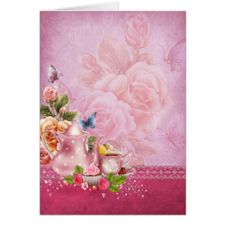 Pink Tea Party Note Card