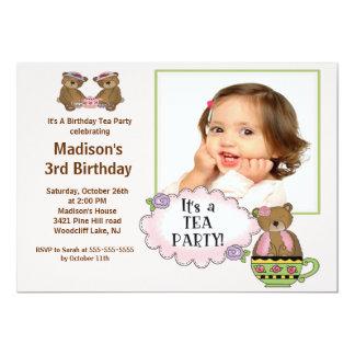 Pink Tea Party Photo Birthday Party Invitation
