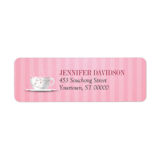 Pink Tea Party Return Address Label