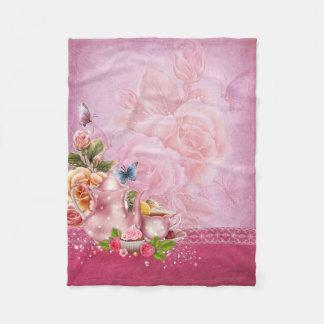 Pink Tea Party Small Fleece Blanket