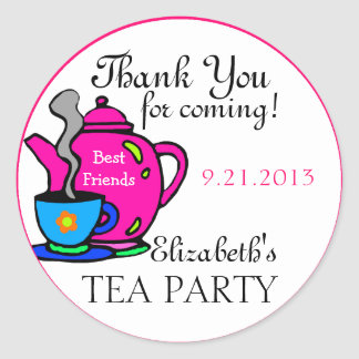 Pink Tea Party Thank You Classic Round Sticker