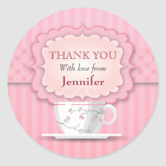 Pink Tea Party Thank You Large Round Stickers