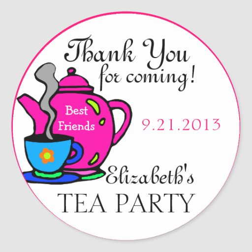 Pink Tea Party-Thank You Round Sticker