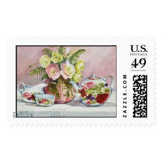 Pink Tea Postage Stamp