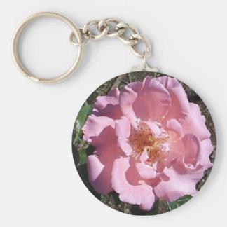 Pink Tea Rose Keychain