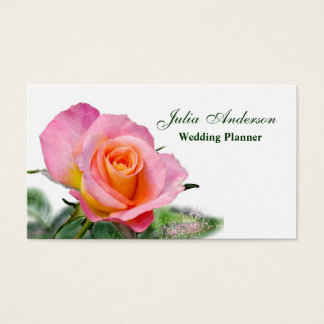 Pink Tea Rose Wedding Planner Business Card