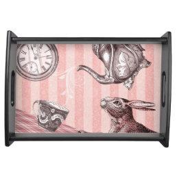 Pink Tea Time Rabbit in Wonderland Serving Tray