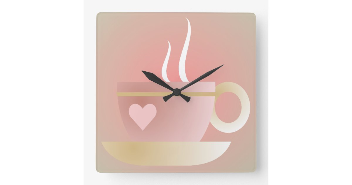 Pink Teacup And Heart Wall Clock Zazzle