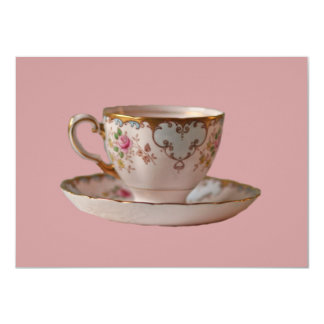 Pink Teacup and Saucer with Roses Card