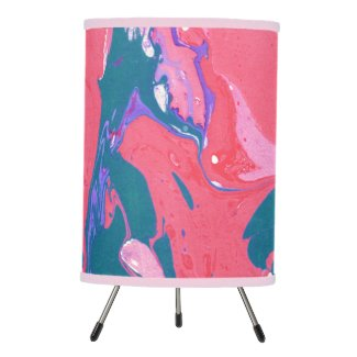 Pink Teal And Purple Marbleized Tripod Lamp