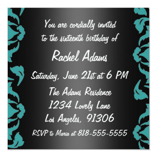 Pink Teal and White Birthday Party Invitation