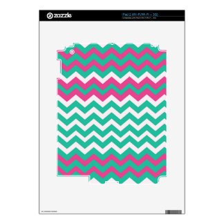Pink,Teal and White Zigzags. Decal For iPad 2