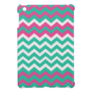 Pink,Teal and White Zigzags. iPad Mini Cases
