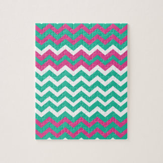 Pink,Teal and White Zigzags. Jigsaw Puzzle