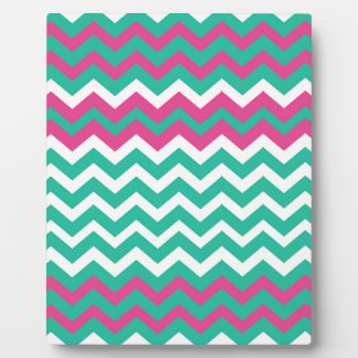 Pink,Teal and White Zigzags. Plaque