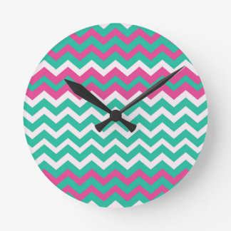 Pink,Teal and White Zigzags. Round Clock