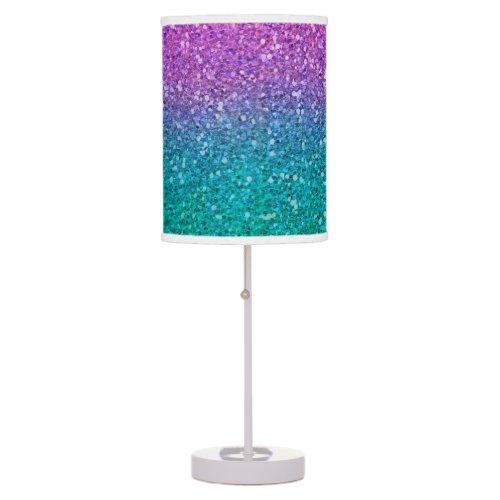 Pink Teal Aqua Blue & Purple Sparkly Glitter Table Lamp
