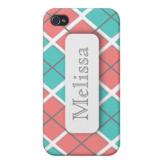 Pink Teal Argyle Personalized iPhone 4 Case
