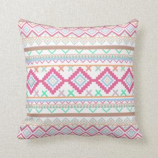 Pink teal Aztec Tribal Diamond geometric Pattern Pillows